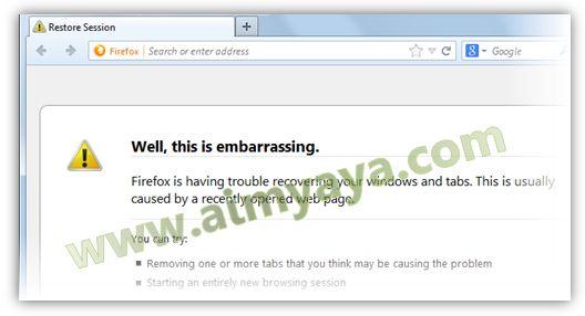 Gambar: Restore session setelah terjadi Firefox Crash