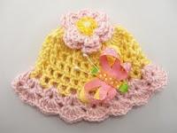 Topi Bayi Perempuan Cantik Dengan Hiasan Kupu-kupu