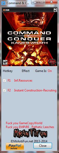 Command & Conquer 3 Kanes Wrath V1.0.0 Trainer +3 MrAntiFun