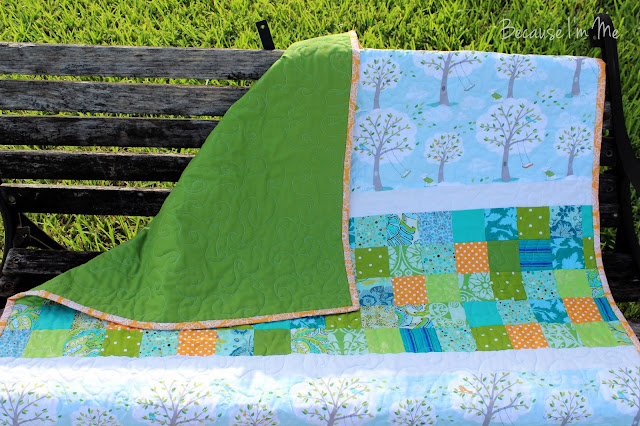 Because I'm Me delightful boys quilt with green backside