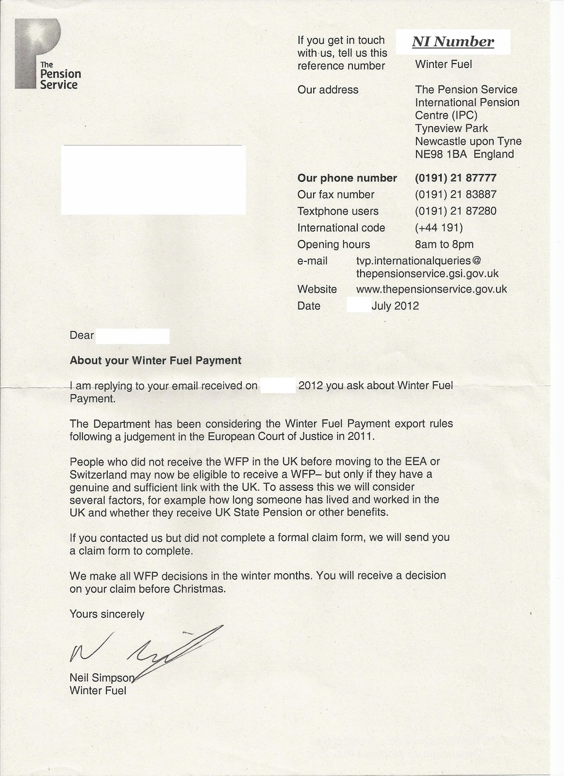 Pensioners Debout Stand up The Winter Fuel Payment for all – Pension Service Claim Form