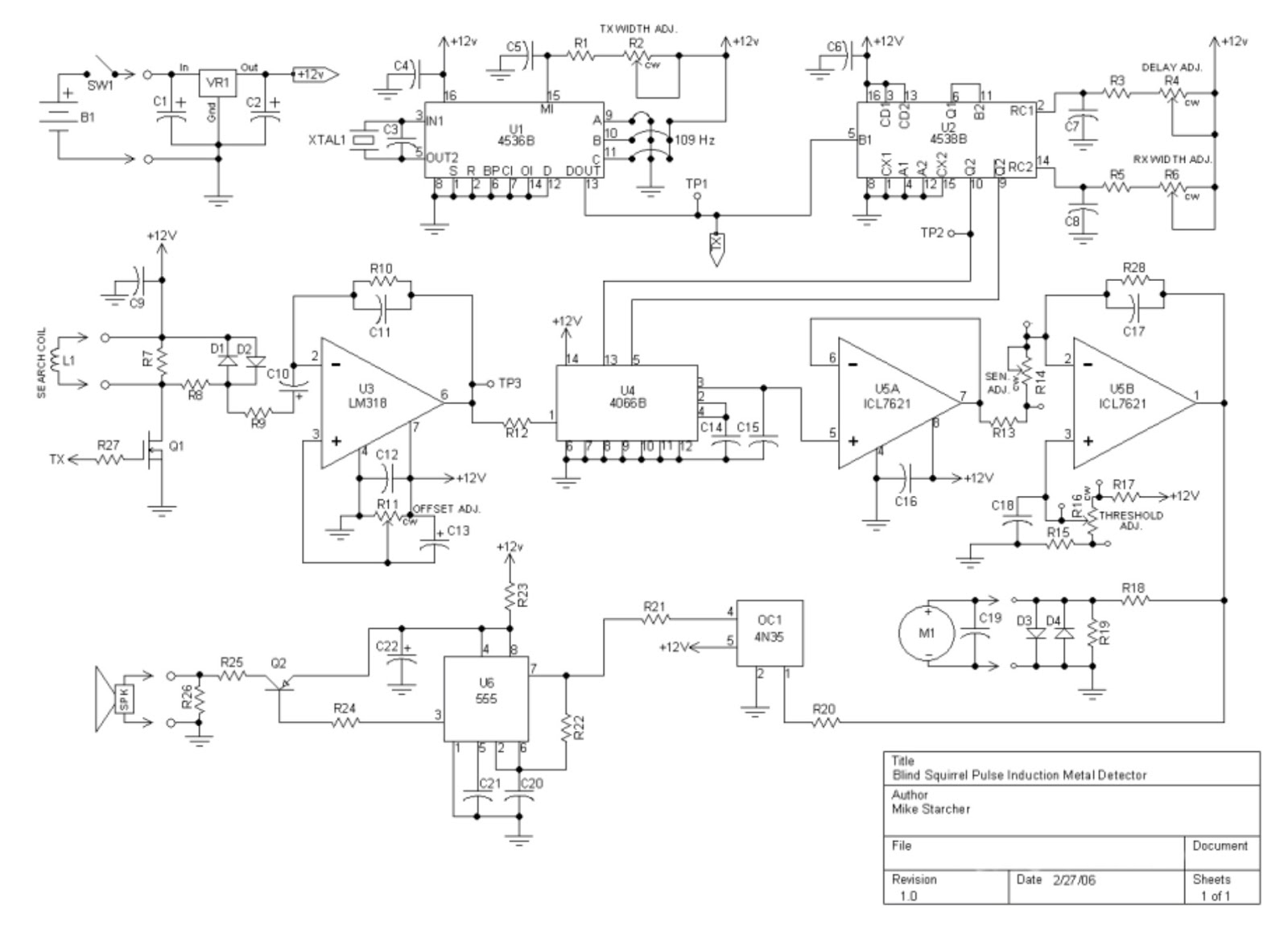 The Blind Squirrel Pulse Induction Metal Detector A Simple Bfo Pi Schematic Diagram