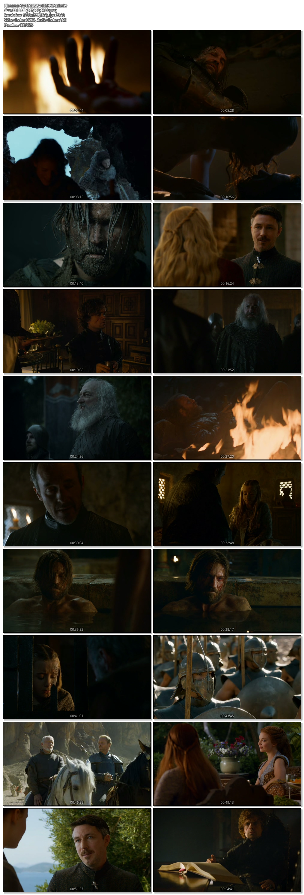 Screenshots Of Hindi Dubbed Show Game of Thrones 2013 Season 03 Episode 05 300MB 720P HD
