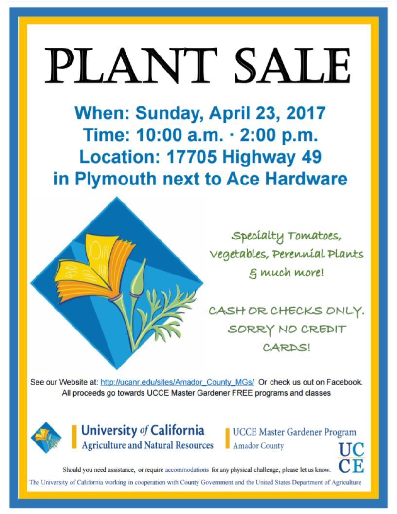 Master Gardeners Plant Sale - Sun Apr 23
