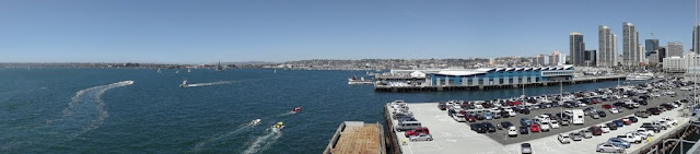 Panorama view from the flight deck on the roof of the USS Midway Museum in San Diego, California, USA