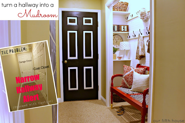 turn a hallway into a mudroom