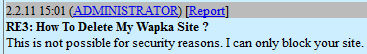 unable to delete my wapka site how to delete wapka