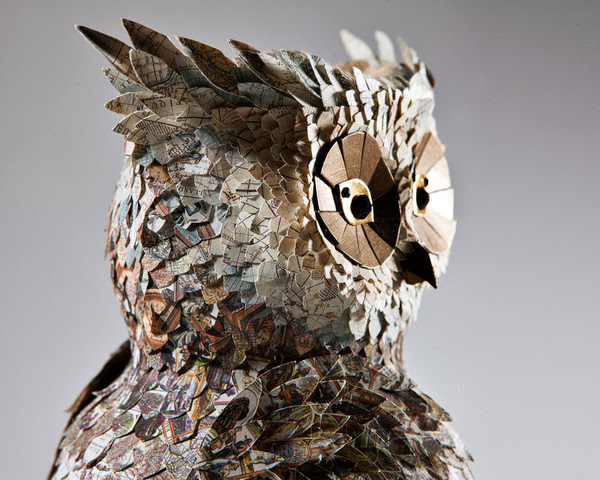 "Junk Book Assemblage Owl Art ""Atlas"" by Makerie Studios"