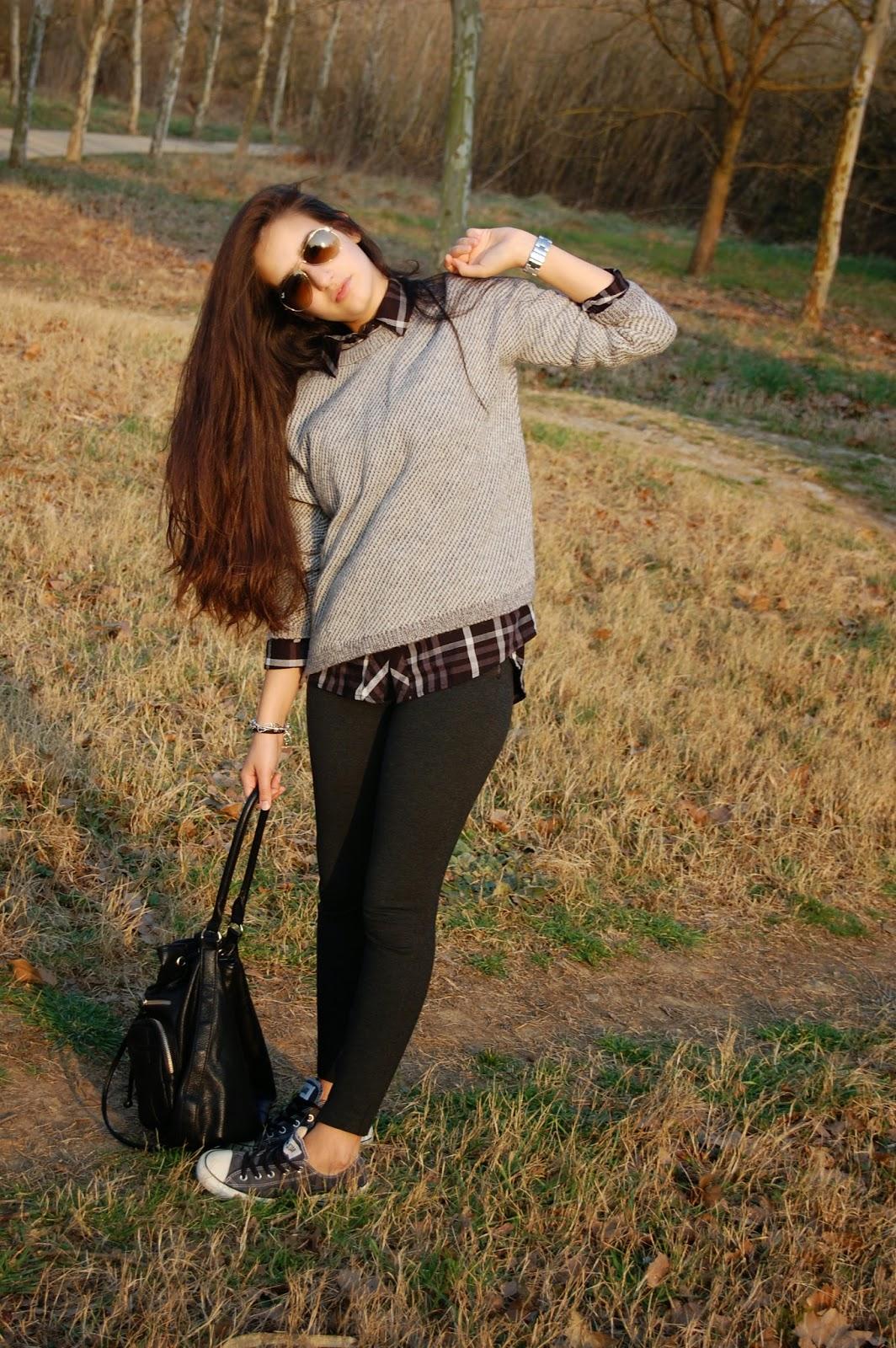 jersey mango gris, camisa cuadros negra, leggings gris zara, converse grises, bolso negro zara, ray-ban aviator