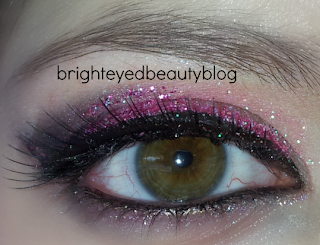 Pink glitter smoky eye