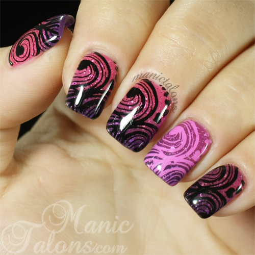 Swirly Sweethearts stamped over Bundle Monster Berry Fizz