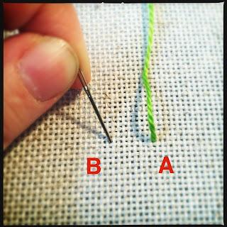 Broderi sting tutorial. Bullion knot knude. Trin 1.