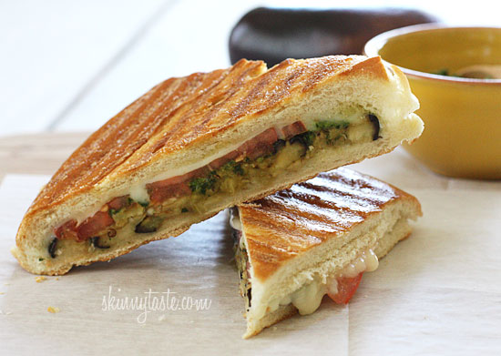 eggplant panini with tomato mozzarella and pesto Eggplant Panini with Pesto