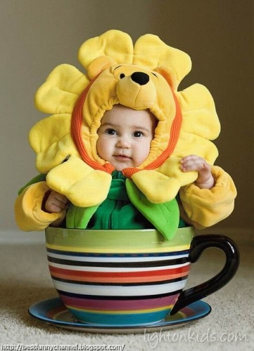 Funny baby in costume.
