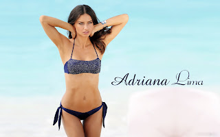 Adriana lima at beach in blue bra wallpapers