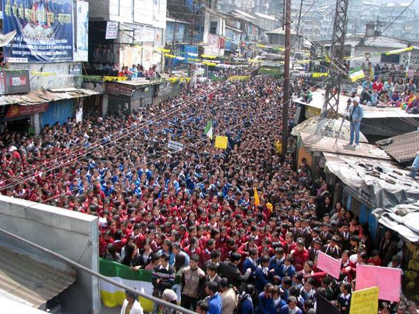 Student protest rally in Darjeeling, from 2011