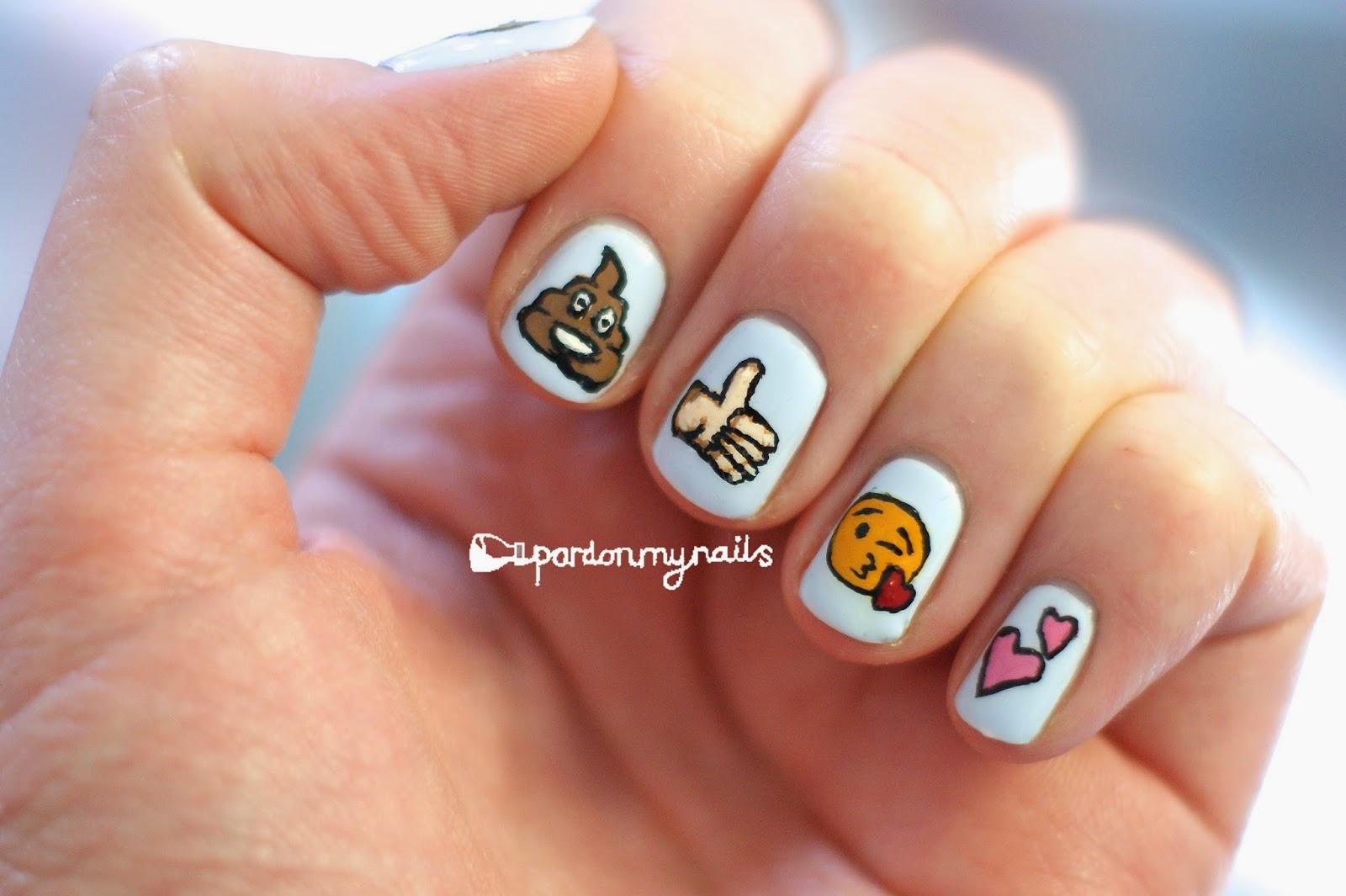 Emoji nail art designs : Pardon my nails uk nail art freehand emoji