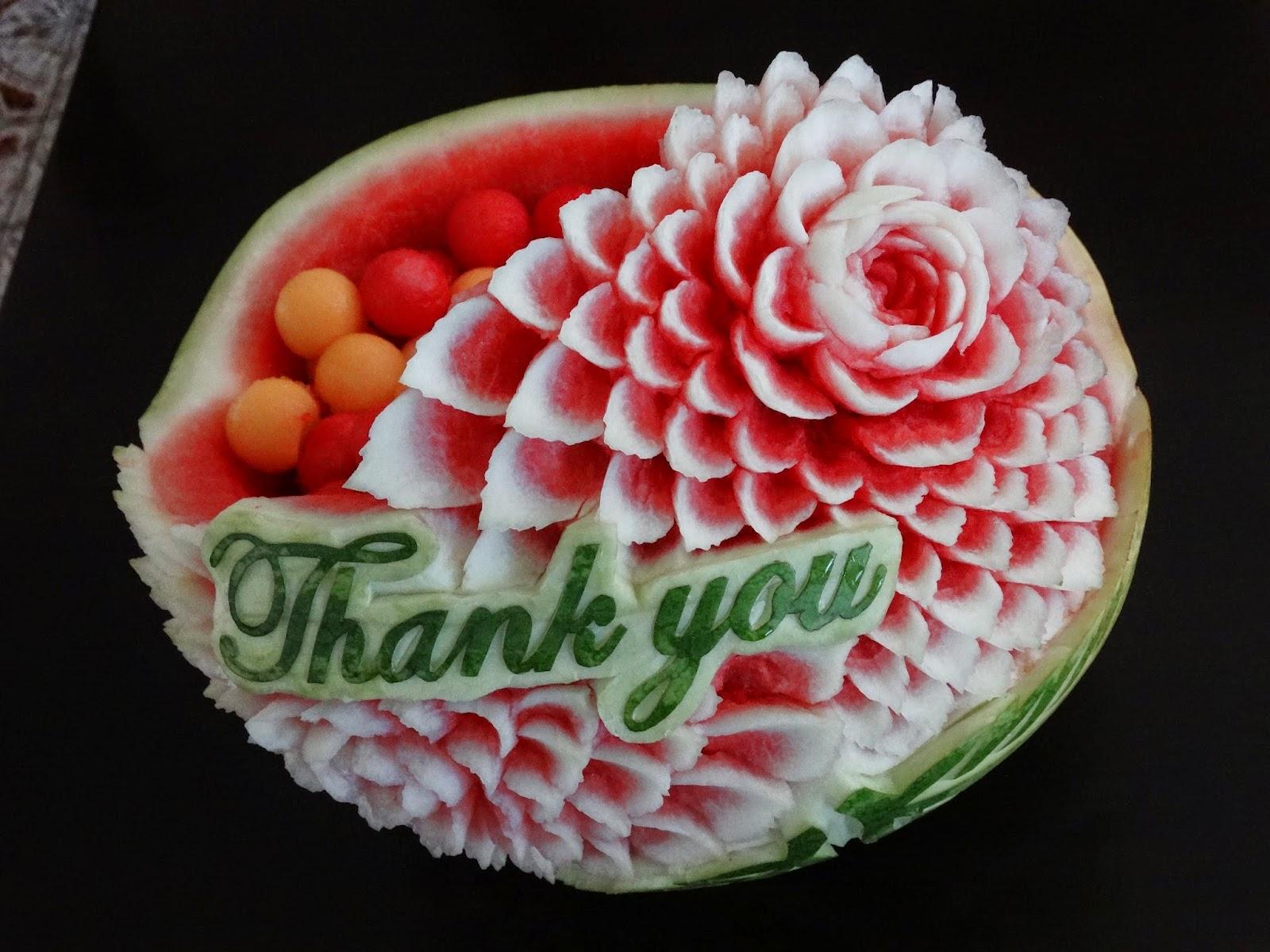 Fruit art arrangements thank you carving