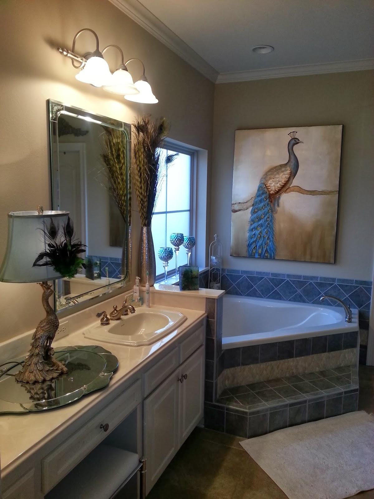 Favorite things decor pretty as a peacock master bath for Peacock bathroom ideas