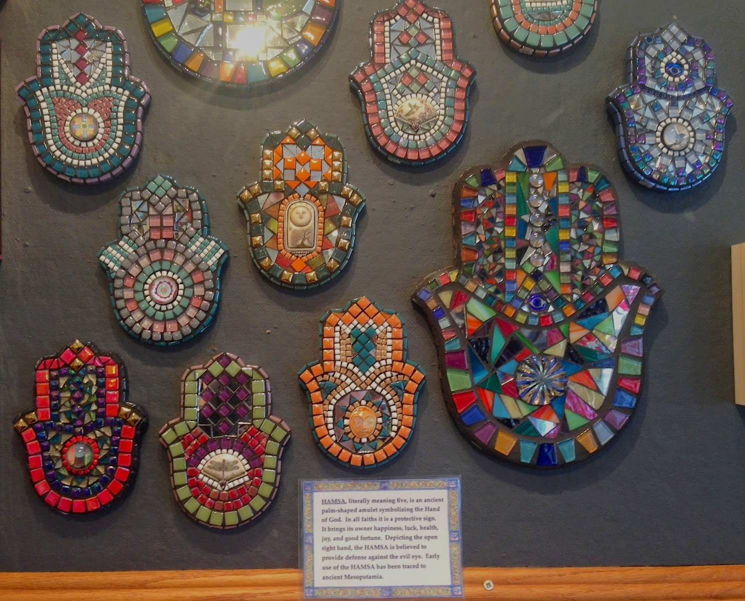 New at sweet mabel gallery mosaic hamsas by sandra and for Mosaic painting meaning