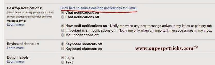 enable gmail desktop notifications