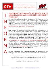 INFORME DE LA INSPECCIÓN DE TRABAJO POR LA DENUNCIA SOBRE LA MODIFICACIÓN DE TAREAS Y FUNCIONES