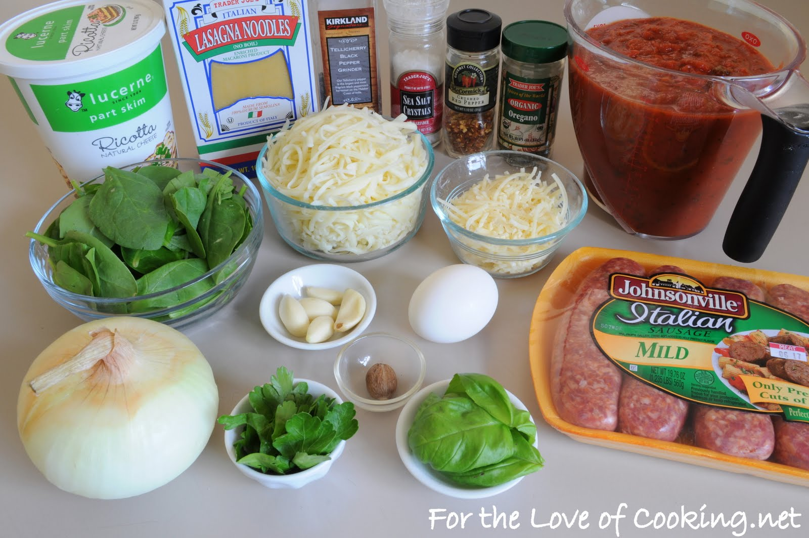 Italian Sausage and Spinach Lasagna | For the Love of Cooking