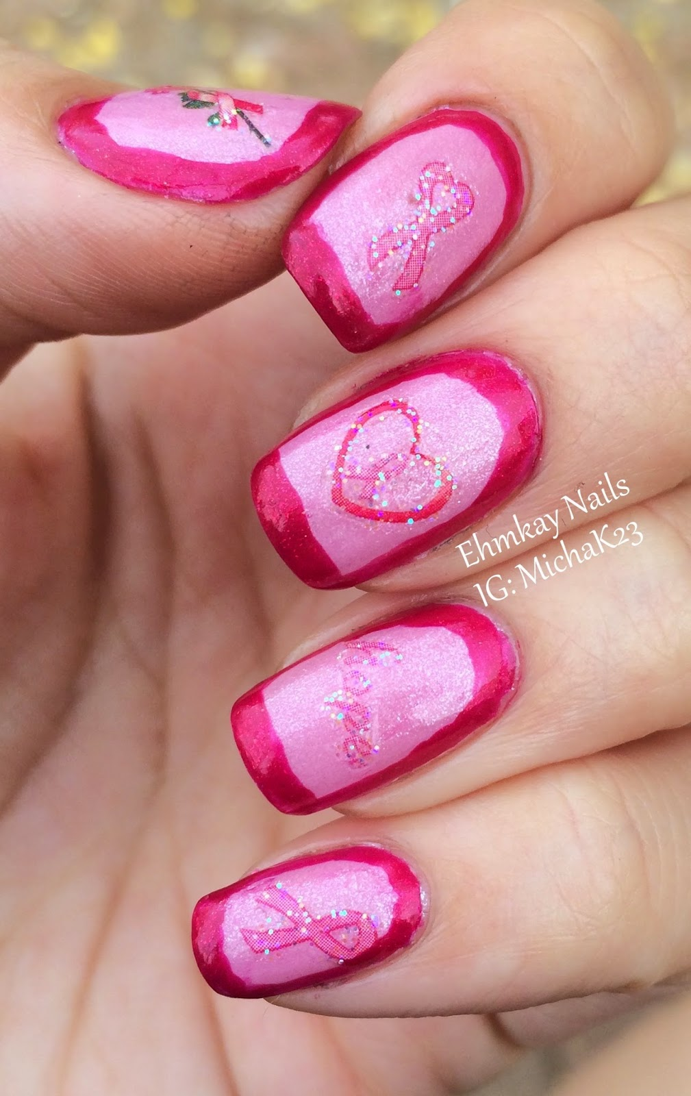 ehmkay nails: Breast Cancer Awareness Nail Art with Joby Decals
