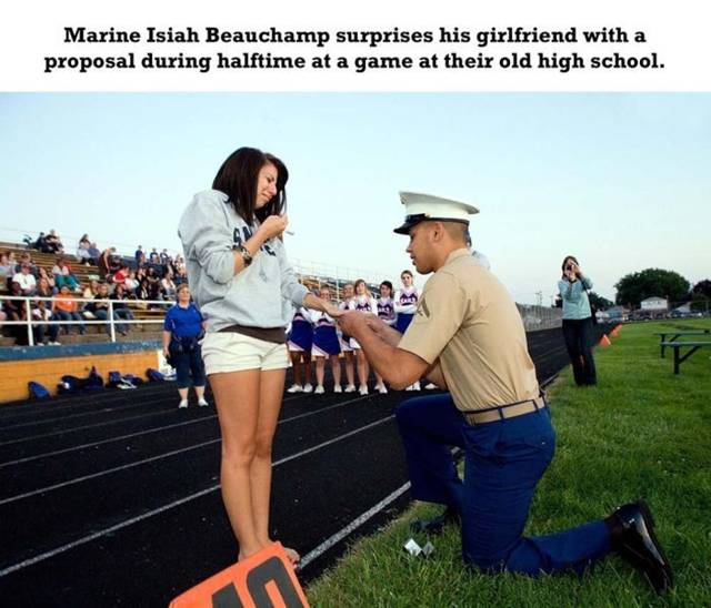 Marine Isiah Beauchamp surprises his girlfriend with a proposal during halftime at a game at their old high school.