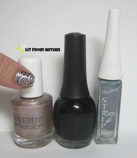 Bottle shot:  Different Dimension Vulnerable, Finger Paints Black Expressionism, So Easy Stripe Right grey striper.