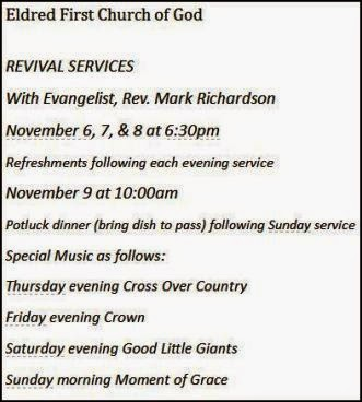 11-6/7/8/9 Revival Services & Dinner