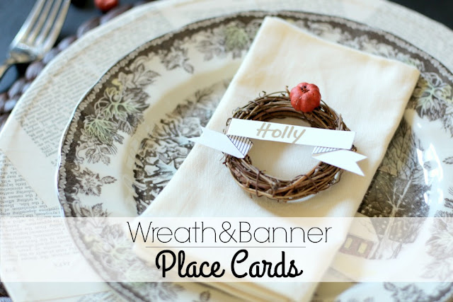 wreath banner place cards with free printable