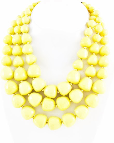 neon yellow beaded chunky necklace