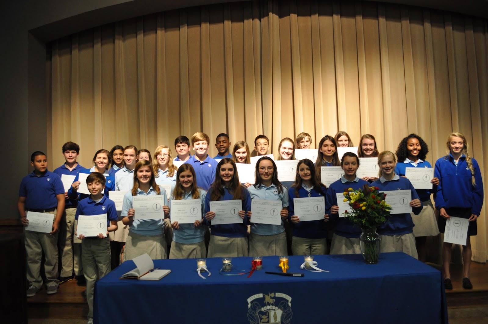 Montgomery Catholic Taps 27 New Members into National Junior Honor Society 1