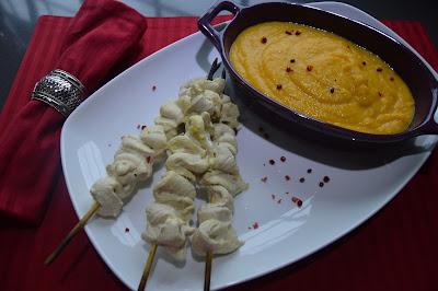 Espetadas de frango com Puré de Abóbora e Batata-Doce
