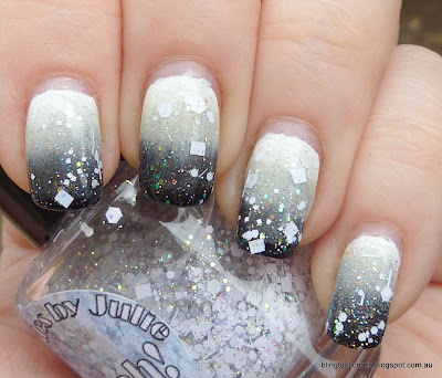 Black and White Gradient Manicure with Sparkles by Julie Sugah