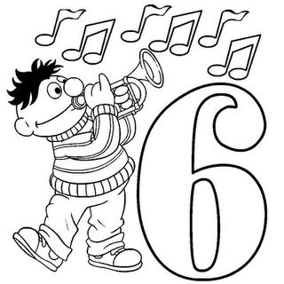 Número 6 para Pintar de Plaza Sésamo ~ Plantilla de prueba