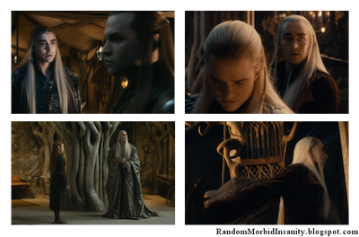 Thranduil doesn't look at the people he's talking to