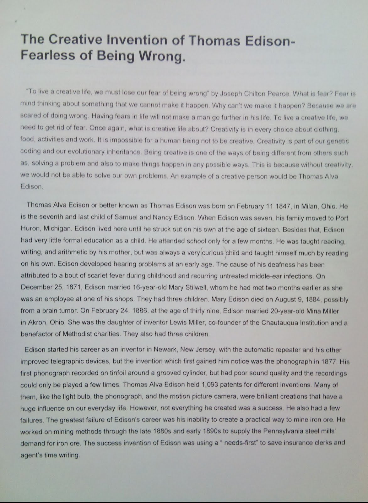 creative studies final assignment♥ part i 800 word essay ♥