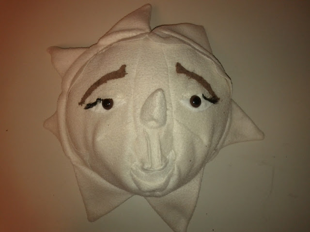 The white fleece star, pearl is finished.  The star is now stuffed and has eyelashes (which are the false kind one finds in the cosmetics department) and brown eyebrows.
