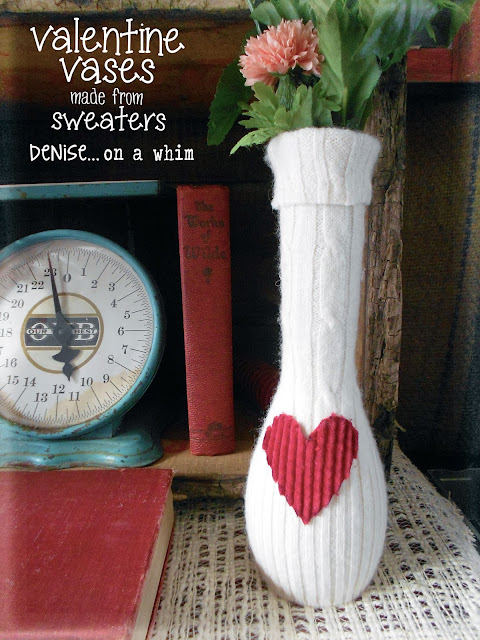 White Sweater and Corduroy Heart Vase via http://deniseonawhim.blogspot.com