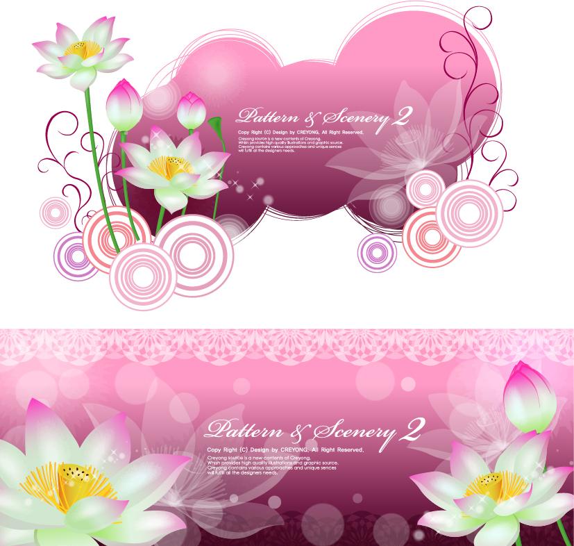 蓮の花を描いた背景 lotus and vector fantasy background イラスト素材