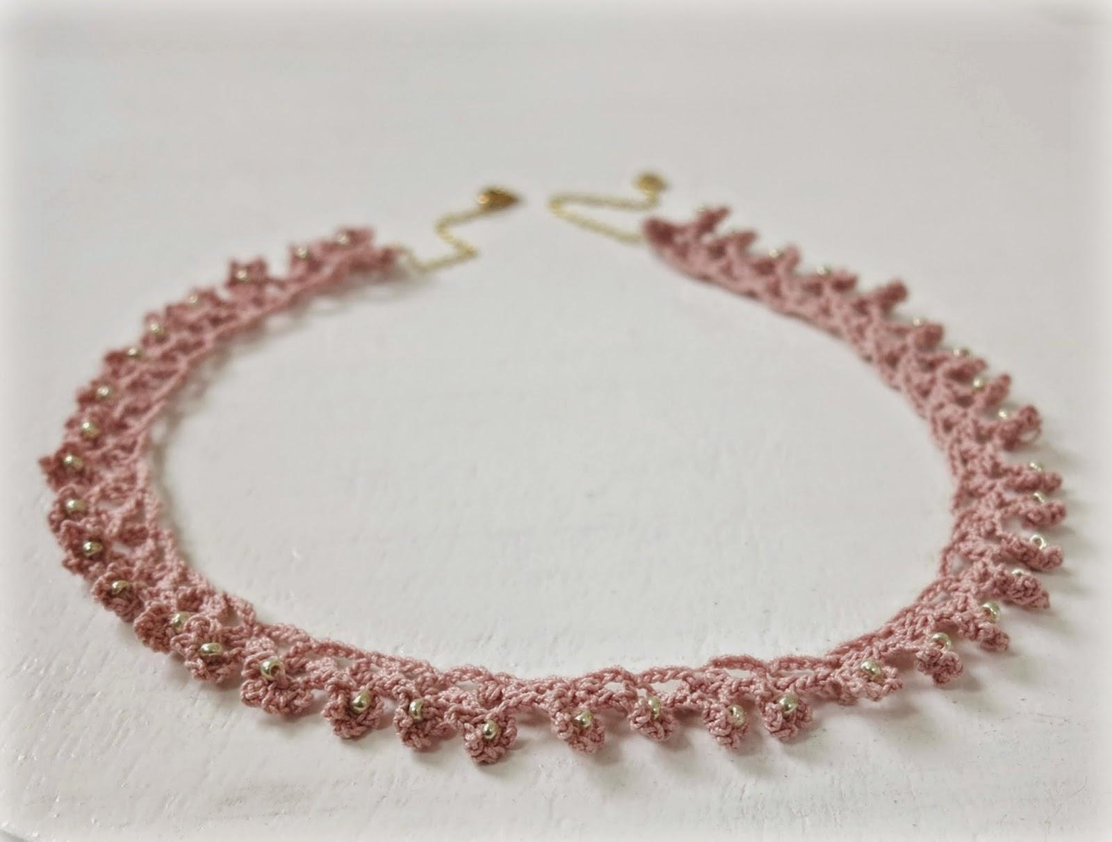 byHaafner, crochet, necklace, beads, pastel, pink
