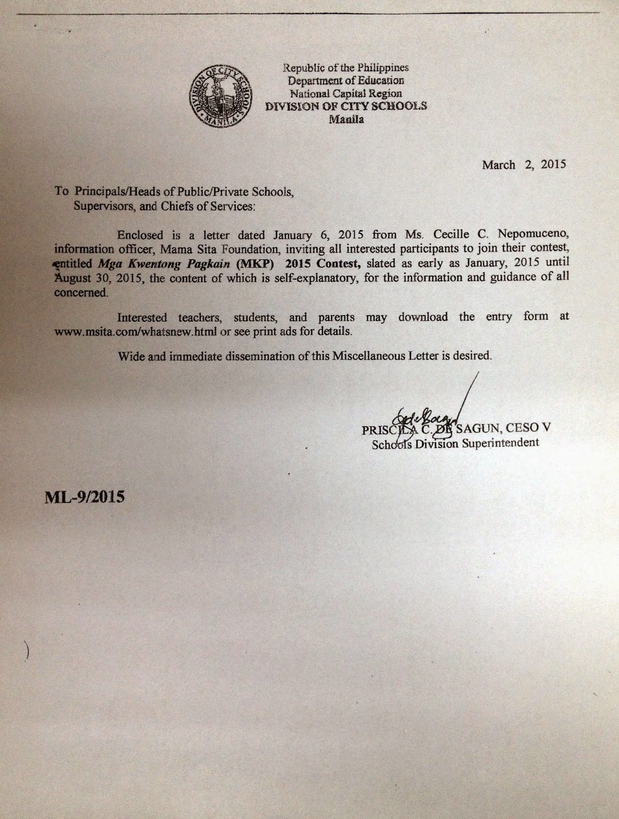 Department Of Education Manila Miscellaneous Letter No 9