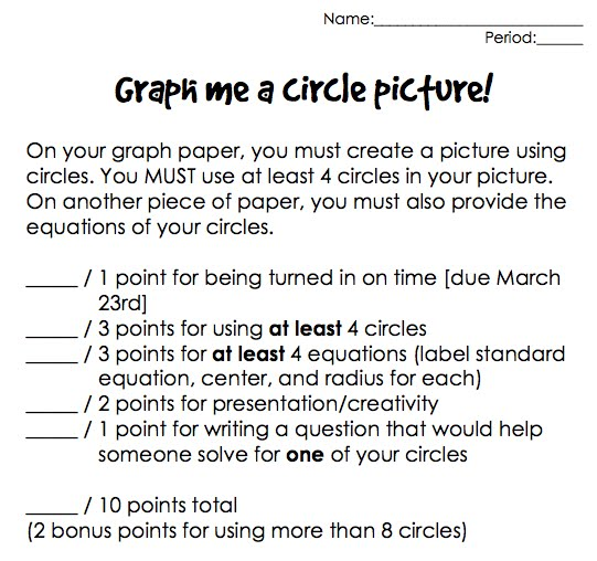 The Secondary Classroom can be fun too Equations of Circles – Equations of Circles Worksheet