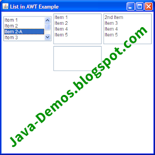 Creating AWT List in Java