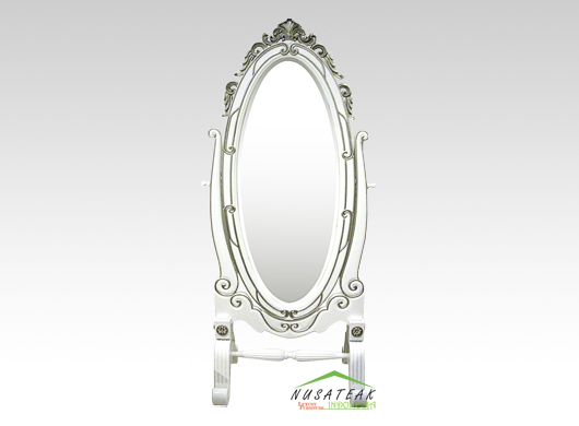 French Style Standing Mirror in White Finish Amos