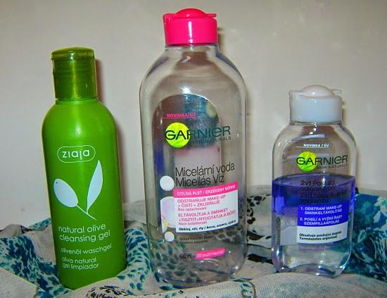 gel Ziaja, micelární voda Garnier, odličovač očí