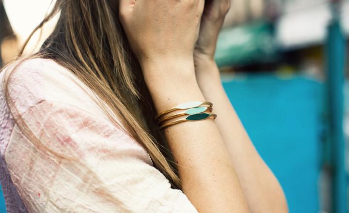 green trio bracelets
