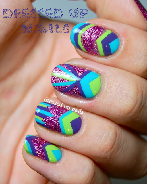 Dressed Up Nalis - Orly Pink Pixel with topcoat and freehand geometric nail art